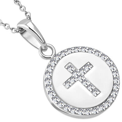 Sterling Silver Religious Cross White Crystals CZ Classic Pendant Necklace