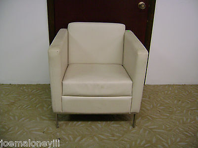 Modern  White Leather Square Cumberland Venlo Chair