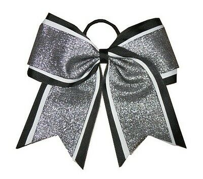 "NEW /""White /& Black Glitz/"" Cheer Bow Pony Tail 3/"" Ribbon Girls Bows Cheerleading"