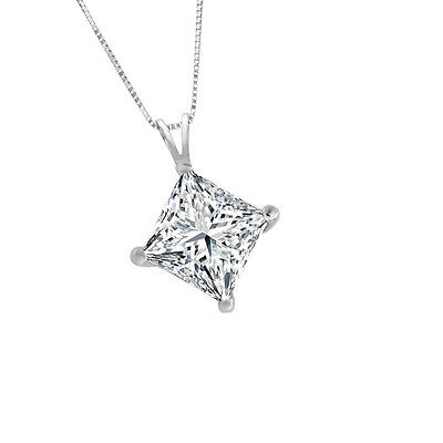 0.50 CT Princess Cut 14k Solid White Gold Solitaire Pendant Necklace with Chain