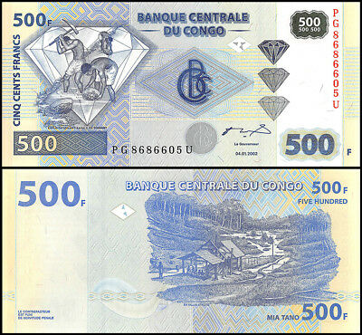 Congo, Democratic Republic 500 Francs, 2002, P-96, UNC
