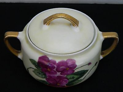Yellow Covered 2 Handled Sugar Bowl - Purple Flower - Marked KPM Signed Helen