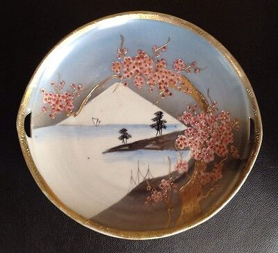 Antique Hand Painted Japanese Porcelain Plate With Handles. Stunning!