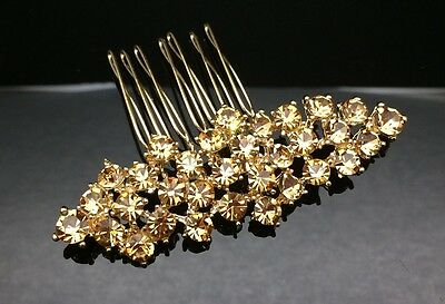 Formal Bridal Wedding Brown Crystal Hair Large Comb Clip Pin 7.6cm Gold Diamante