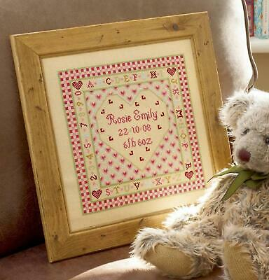 HS Counted Cross Stitch Sampler Kit – Heart Birth Record