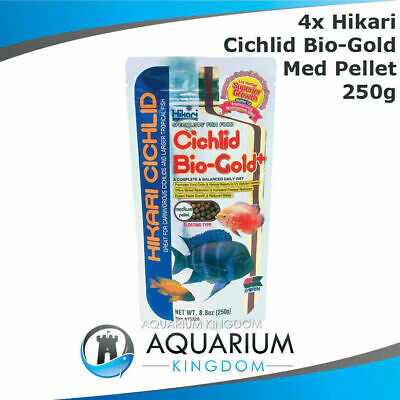 4x Hikari Cichlid Bio-Gold+ 250g MEDIUM 5mm Pellets Floating Tropical Fish Food
