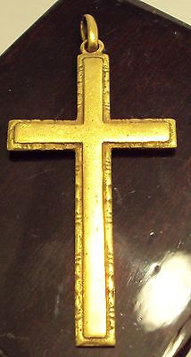 OUTSTANDING VINTAGE BRASS CROSS,ENGRAVING,EARLY 20th. Century !!! # 768
