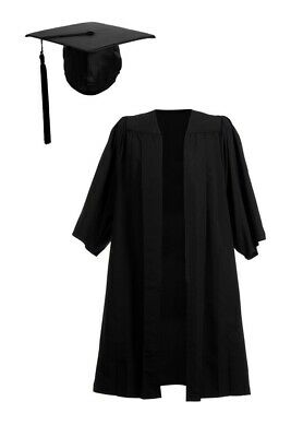University Graduation Gown And Mortarboard Set Bachelor BA Cap With Pleated Robe