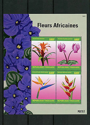 Togo 2014 MNH African Flowers 4v M/S Fleurs Africaines Flora Cyclamen Heliconia
