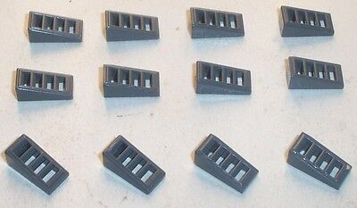 LEGO Lot 12 Small Pieces 18 Degree Slope w/ Grille 2 x 1 x 2/3 Dark Bluish Gray