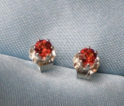 3Mm Petite Round Intense Red Mozambique Garnet  .925 Sterling Silver Studs