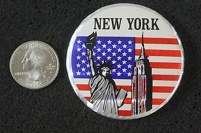 New York Statue Of Liberty Empire State Building USA Souvenir Pinback Button