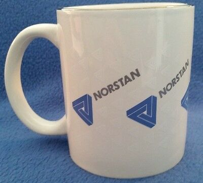 Norstan Coffee Mug, white with blue Norstan logos and silver colored rim