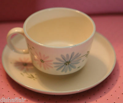 Franciscan Maytime 2 Coffee Cups 1 Saucer Pink & Blue Flowers