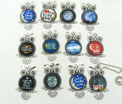 """NEW OWL """"I LOVE YOU TO THE MOON AND BACK"""" Photo Alloy Necklaces & Pendants"""