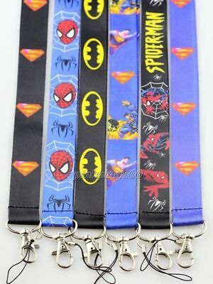Lot Mixed Superman Batman Spiderman Mobile Cell Phone Lanyard Neck Straps E30