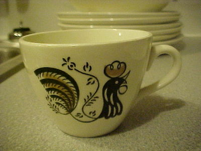Royal China Good Morning Break-of-Day Cup Black/Gold Rooster on White UW13