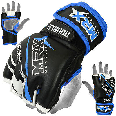 MMA Fight Gloves UFC Cage Grappling Glove Boxing Muay Thai Kick MRX Black Blue