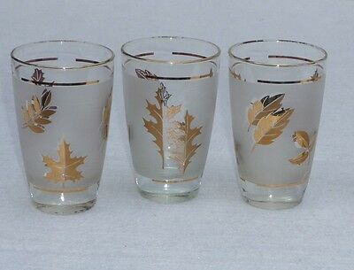 3  - 4 3/4 Inch Libbey's Frosted Gold Leaf Tumbler Glasses-Vintage - Mid-Century