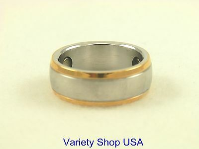 Stainless Steel 2 Tone Magnetic Ring Sizes 6-13 SSR4-2T