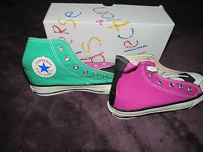 Nib Vintage Converse Pink Green All Star Chuck Taylor Kids 13.5 Made In Usa
