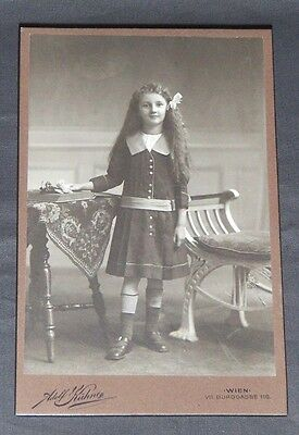 Antique Cabinet Portrait Card Of A 7 Year Old German Girl.