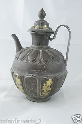 Chinese Antique Old Silver Wine Pot w/ Gold Inlaid - 19th Century!  #414