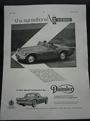DAIMLER S.P.250 V8 from 1960 - 1 page B/W ADVERT