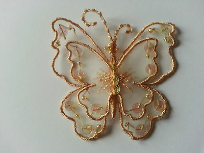 Gold Sew On Satin Sequin Butterfly Motif Applique Trimmings 6.5cm x 6.5cm 2.5""