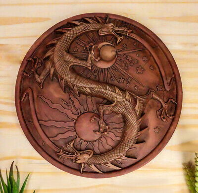 Sun and Moon Double Dragon Round Wall Plaque Figurine Maxine Miller Collection