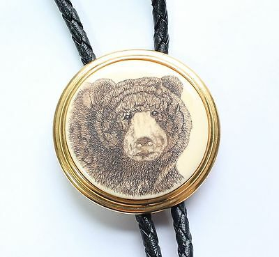 Vintage BARLOW Stamped Scrimshaw Grizzly Bear Bolo Tie