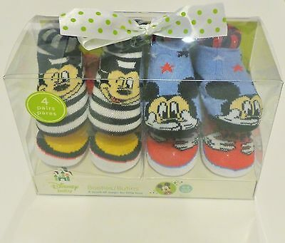 Disney Baby Mickey Mouse Muti-color Booties 4 pairs for 0-6 months