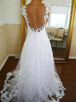 White/Ivory Backless Lace Bridal Gown Wedding Dress Custom Size 6 8 10 12 14 16+