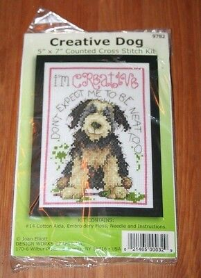 """Counted Cross Stitch Kit - Dog """"I'm Creative, Don't Expect Me To Be Neat Too"""""""
