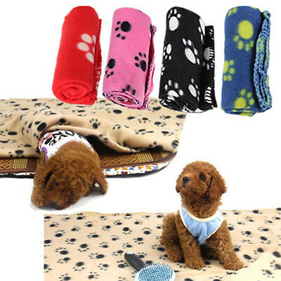 Lovely Design Paw Print Soft Warm Fleece Pet Blanket Dog Cat Mat Puppy Bed Sofa