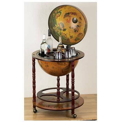 Kassel Replica of Italian Hand-Painted Globe Wine Bar Cart Liquor Stand