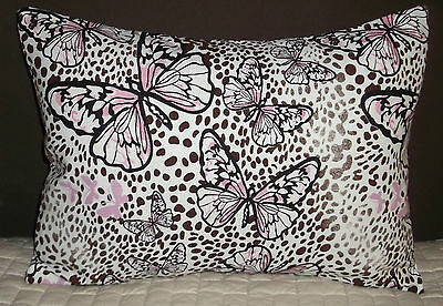"Pink Butterflies on Brown Animal Print Throw Pillow Cover - 16""x12"" - Handmade"