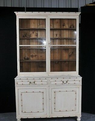 Painted English Kitchen Dresser Bookcase Glass Fronted Cabinet • £1,600.00