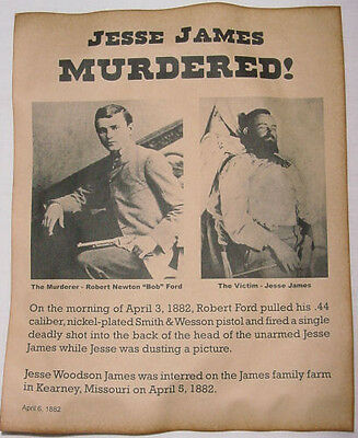 Jesse James Murder Notice Poster, old west, outlaw, western, wanted, death