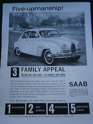 SAAB from 1962 - 1 page B/W ADVERT
