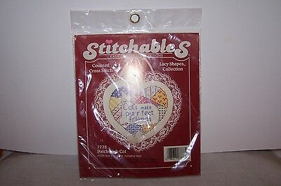 """1988 Dementions """"Cat's Make Purrfect Friends"""" Counted Cross Stitch With Lace"""
