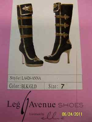 ANNA Boots Pirate Wench Black Gold Fancy Dress Halloween Adult Costume Accessory