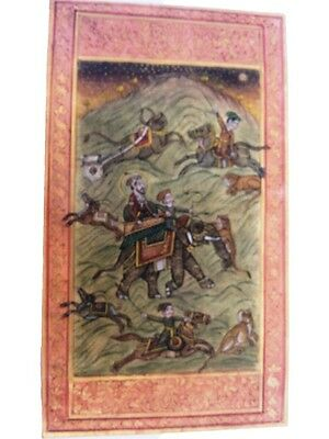 Indian Old Vintage Rare King On Elephant With Paper Painting GH - 527