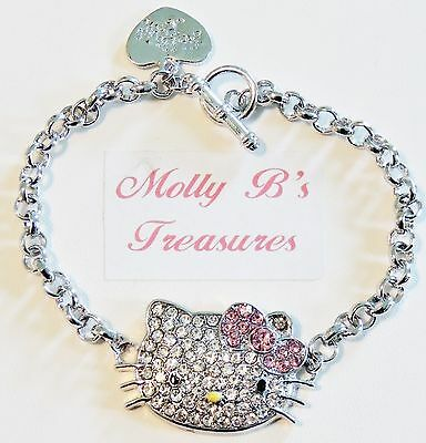 """HELLO KITTY CRYSTAL BIG FACE, PINK BOW SILVER CHAIN LINK CHARM BRACELET 8 1/2"""""""