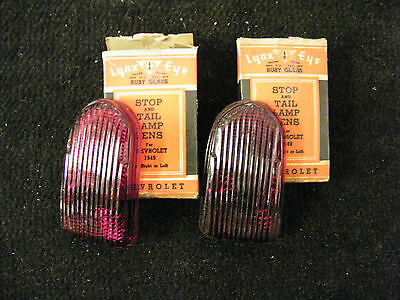 Pair Of Nors Tail Light Lens 1949 Chevrolet Made By Lynx-Eye Glass