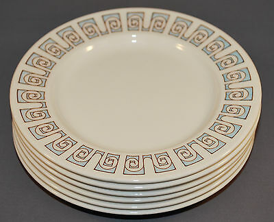 Taylor Smith & Taylor Taylorstone Forum 6 Bread Plates Blue and White 6 3/4 Inch