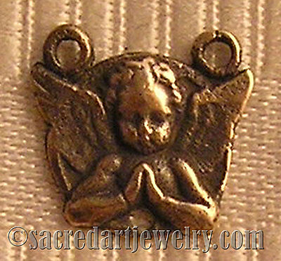 Angel Praying Antique Replica Rosary Center Sterling Silver or Bronze 297