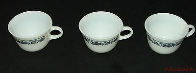 Three Vintage Corning Old Town Blue Onion White Milk Glass Coffee Cups / Mugs