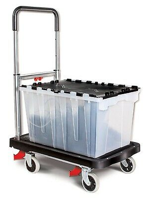 Magna Cart Flat Form 4 Wheel Hand Truck Cart Black / Silver Easy Storage