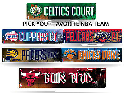 "NBA Teams - Officially Licensed 16"" Basketball Street Sign Man Cave Wall Decor"